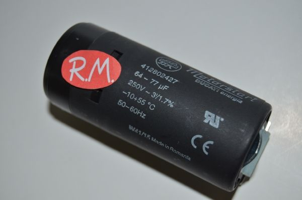 Condensador de arranque motor compresor 64 - 77 uf 220v