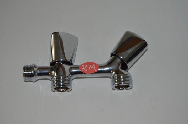Grifo doble lavadora dos roscas 3/4 volantes de metal 6102