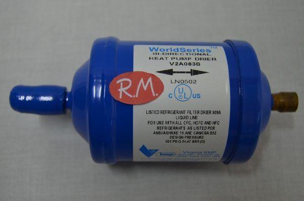 "Filtro deshidratador bi-flujo frio comercial V2A-083S soldar 3/8"""
