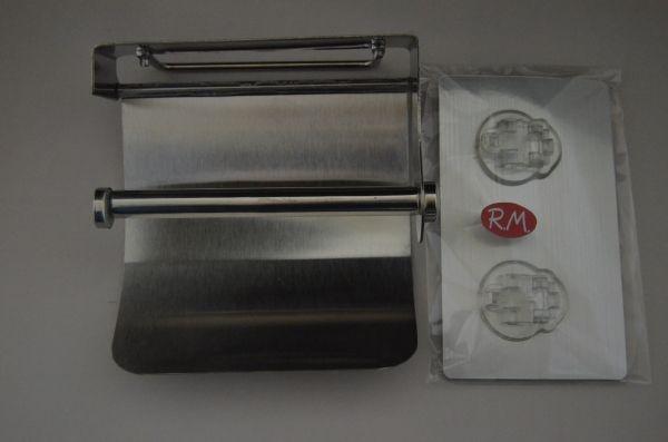 Portarrollos wc inox con tapa adhesivo reutilizable for Portarrollos bano adhesivo