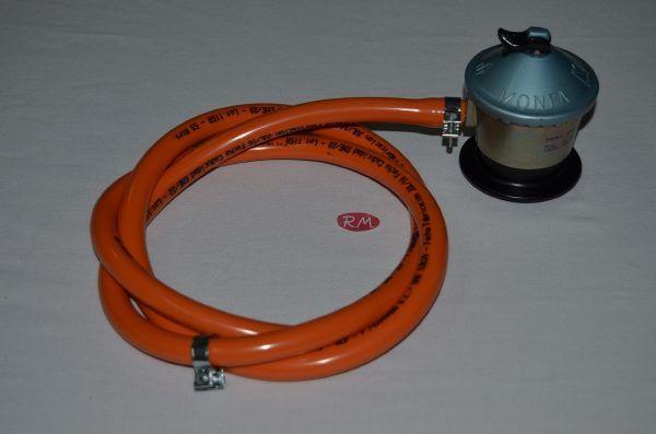 Kit regulador butano montado 1,5m goma y dos abrazaderas