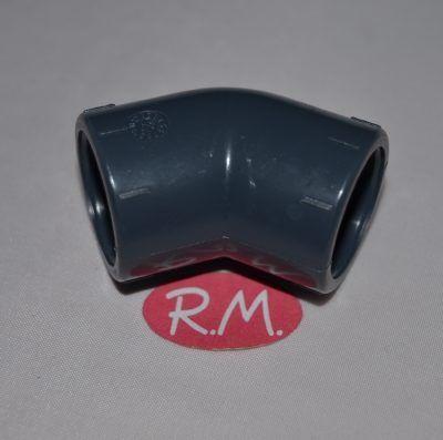 Codo 45° para encolar en tubo de PVC gris Ø 20 mm