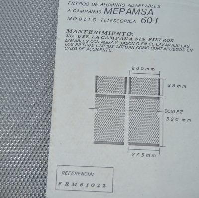 Filtro metal campana Mepamsa 275x360 + 280x95mm