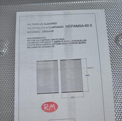 Filtro metal campana Mepamsa 280x445mm