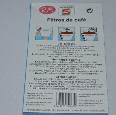 Filtro papel cafetera de goteo 1x2 40 unidades
