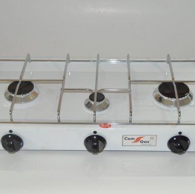 Cocina sobremesa 3 fuegos parrilla cromada con tapa