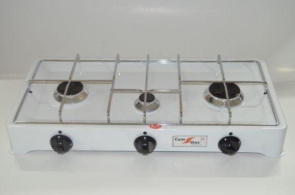 Cocina sobremesa 3 fuegos parrilla cromada con tapa for Cocina 3 fuegos sobremesa