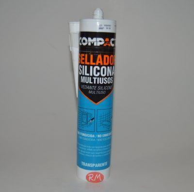 Sellador de silicona Multiusos 280 ml transparente Compact
