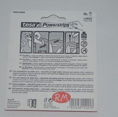 Tesa powerstrips cinta adhesiva doble cara 10 tiras 2cm x 7cm