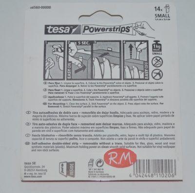 Tesa powerstrips cinta adhesiva doble cara 14 tiras 1,5cm x 6cm