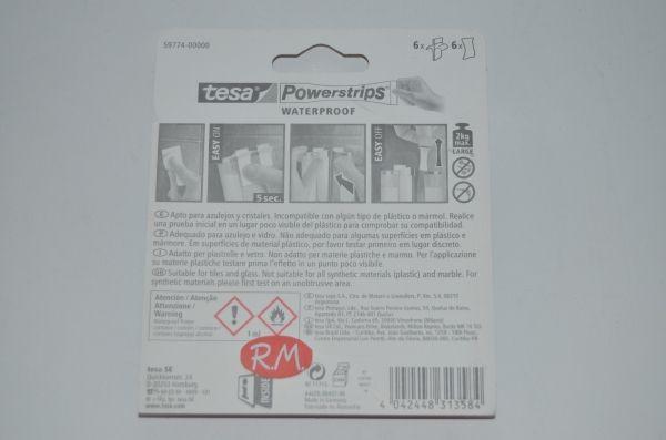 Tesa powerstrips cinta adhesiva doble cara waterproof 6 tiras 2cm x 7cm