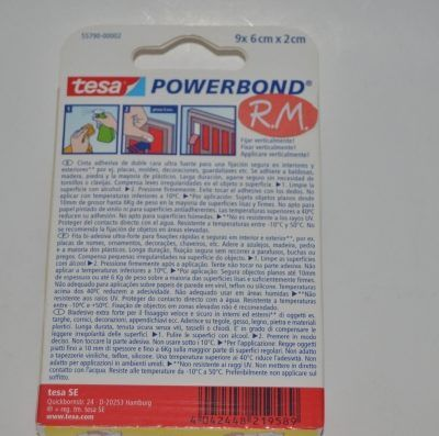 Tesa powerbond cinta adhesiva doble cara 9 tiras 6cm x 20mm