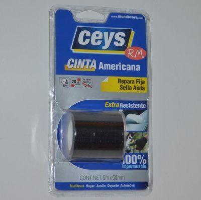 Cinta americana Tackceys 5 m x 50 mm negra Ceys