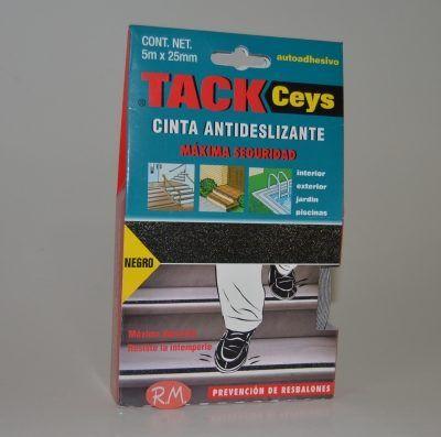 Cinta antideslizante Tackceys negro 25 m x 5 mm Ceys