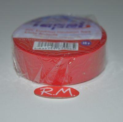 Cinta adhesiva aislante PVC roja 10 x 19 mm