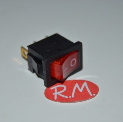 Interruptor unipolar rojo con piloto 13 x 19 mm