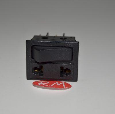 Interruptor negro unipolar + base enchufe 22 x 30 mm