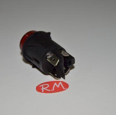 Pulsador bipolar redondo con piloto rojo 22 x 30 mm