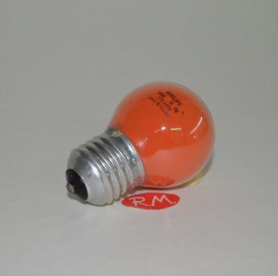 Bombilla esférica incandescente roja E-27 15W