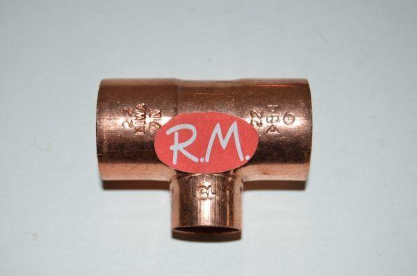 Te reducida de cobre soldar H-H-H 22 - 15 - 22 mm