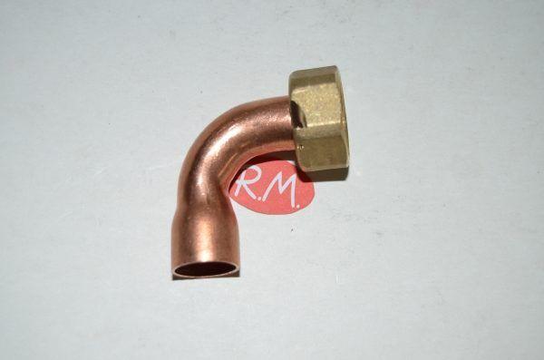 Racor dos piezas curvo H 1/2 Ø 15 mm boca plana