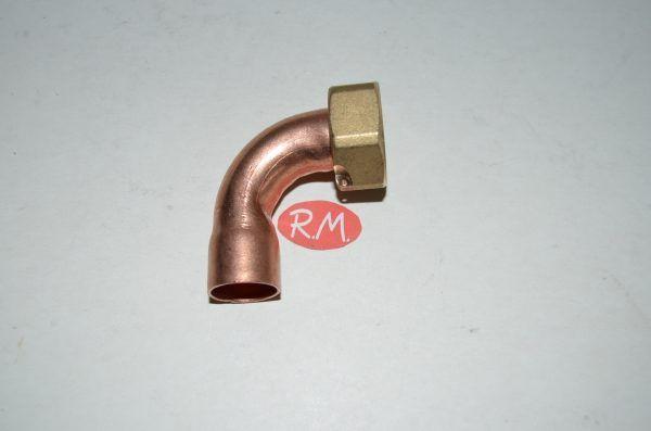 Racor dos piezas curvo H 3/4 Ø 18 mm boca plana