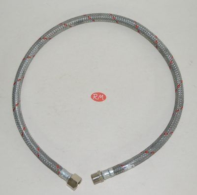 Latiguillo quemador caldera gasoil M 3/8 H 3/8 180° 80cm
