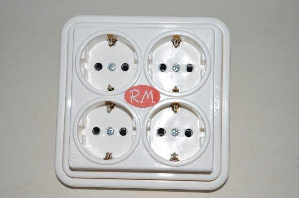 Multiconector 4 tomas con toma de tierra Fontini