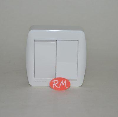 Doble conmutador superficie blanco Solera MUR12U