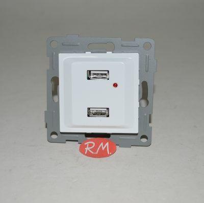 Base empotrar doble USB Onlex blanco 27280