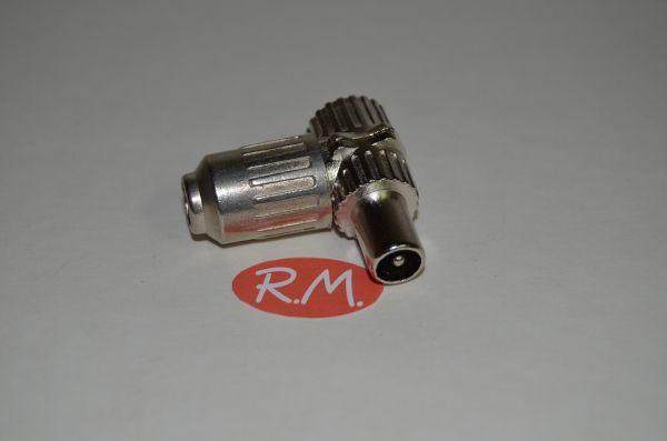 Conector de antena coaxial acodado macho 9,5 mm