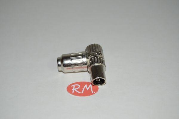 Conector de antena coaxial acodado hembra 9,5 mm