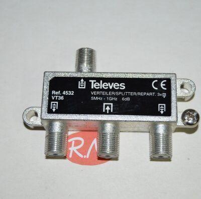 Repartidor 3 salidas TV con conector F