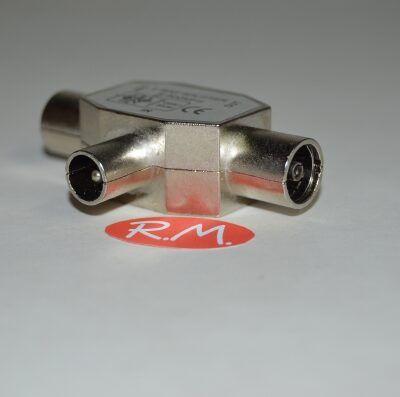 Distribuidor antena coaxial 2 hembras 1 macho RG6