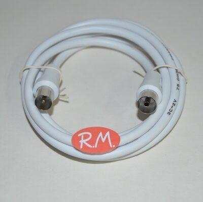 Alargo cable antena macho hembra de 9.5 mm 1.5m blanco