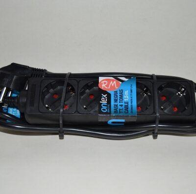 Base 4 tomas TTL negra con cable 1.5 metros