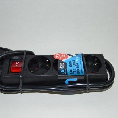 Base 3 tomas TTL negra con interruptor y cable 1.5 metros