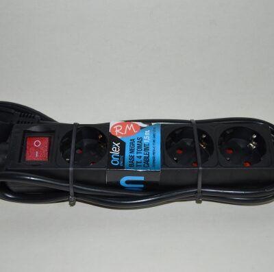 Base 4 tomas TTL negra con interruptor y cable 1.5 metros