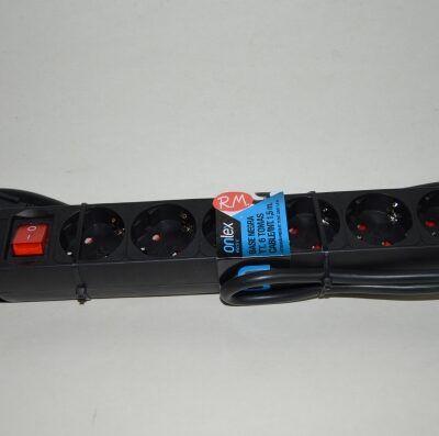 Base 6 tomas TTL negra con interruptor y cable 1.5 metros