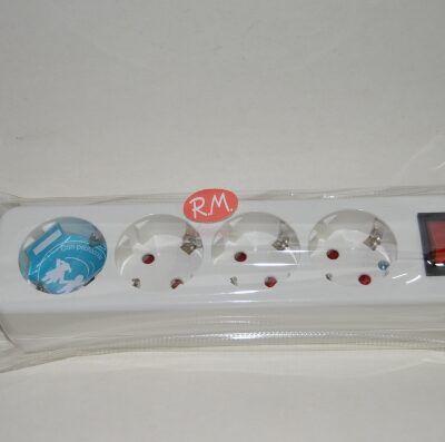 Base 4 tomas TTL blanca sin cable con interruptor