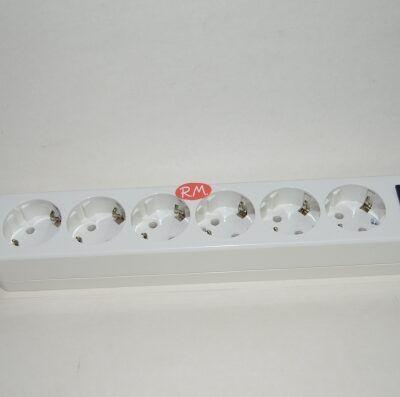 Base 6 tomas TTL blanca sin cable con interruptor