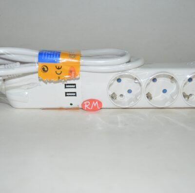 Base 3 tomas TTL blanca con cable 1.5 metros y USB