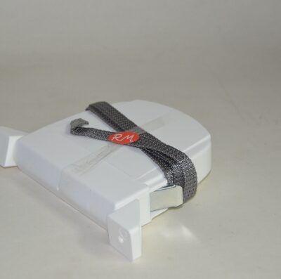 Recogedor persiana abatible blanco cinta 14 mm gris