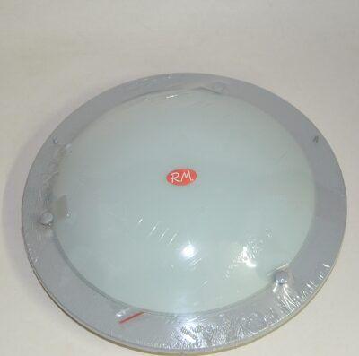 Plafón redondo cristal opal de techo 1 x E-27 gris