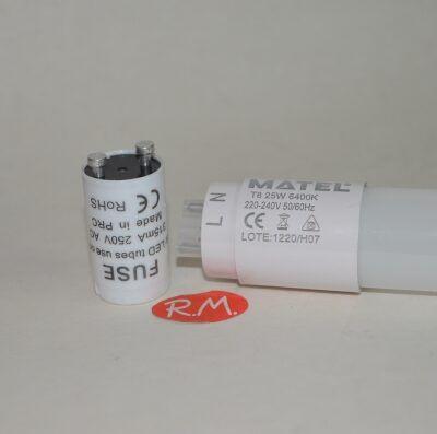 Tubo fluorescente led con cebador T8 25W 6400K