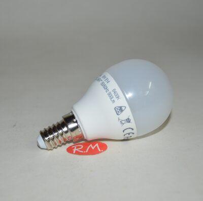 Bombilla led esférica E14 8W 6400K