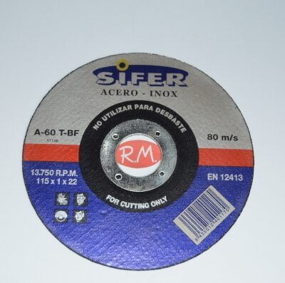 Disco corte Inox 115 x 1 x 22 mm